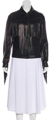 Joseph Leather Button-Up Jacket