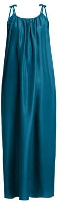 Loup Charmant - Gathered Silk Satin Dress - Womens - Dark Green