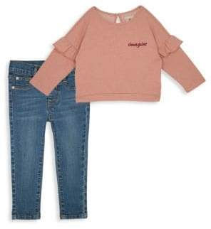 AG Adriano Goldschmied kids Little Girl's Two-Piece Ruffle Top& Jeans Set