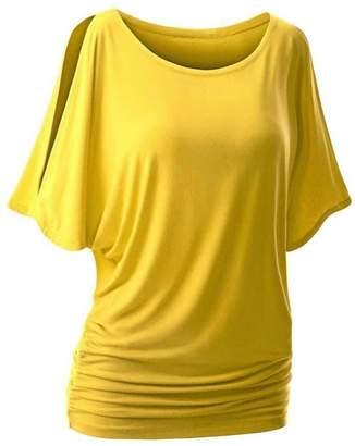 Changeshopping Summer Women Casual Off Shoulder Short Sleeve Collect Waist T-shirt (L, )