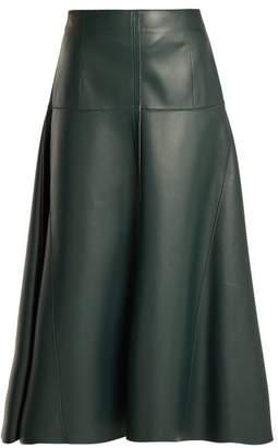 Fendi Panelled Leather Midi Skirt - Womens - Black