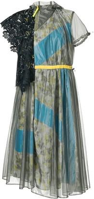 Kolor floral panelled belted dress