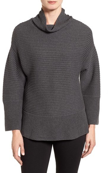 Petite Women's Vince Camuto Ribbed Funnel Neck Sweater