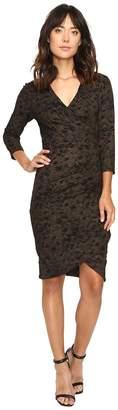 Nicole Miller Stefanie Gold Glazed Ponte Dress Women's Dress