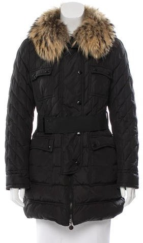 MonclerMoncler Safran Fur-Trimmed Coat