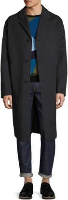 Jil Sander Men's Wool Notch Lapel Belted Top Coat
