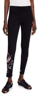 Johnny Was Kira Camo Stretch-Cotton Leggings w/ Embroidery