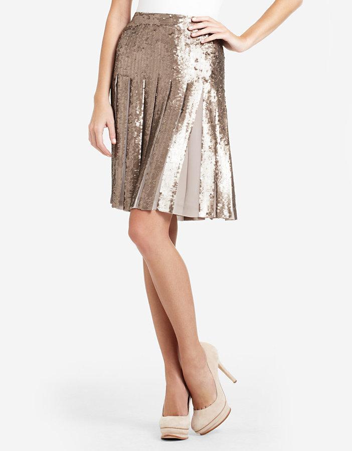 BCBGMAXAZRIA Edna Sequined Pleated Skirt