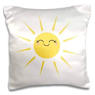 3dRose Smiling happy sun - cute kawaii yellow sunny smiley face - summery sunshine on white - sweet summer - Pillow Case, 16 by 16-inch