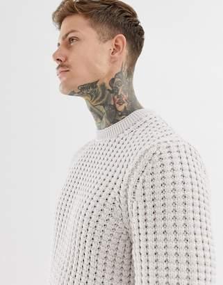 AllSaints Chunky Waffle Sweater In Beige