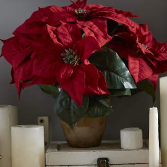 Three Posts Poinsettia w/Ceramic Vase Silk Floral Arrangement