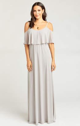 Show Me Your Mumu Caitlin Ruffle Maxi Dress ~ Dove Grey Chiffon