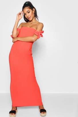 boohoo Tie Shoulder Column Jersey Maxi Dress