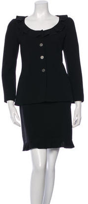 Chanel Ruffle-Trimmed Wool Skirt Suit $595 thestylecure.com