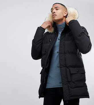 SikSilk parka jacket with faux fur hood in black exclusive to ASOS