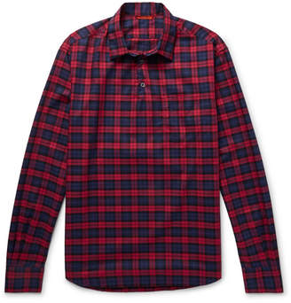 Barena Slim-Fit Checked Cotton-Twill Half-Placket Shirt - Red