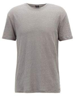 BOSS Hugo Crew-neck T-shirt in single-jersey linen M Open Grey