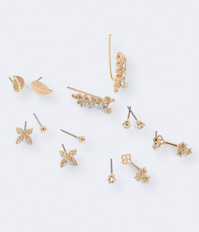 Leaf Stud & Ear Jacket Earring 6-Pack