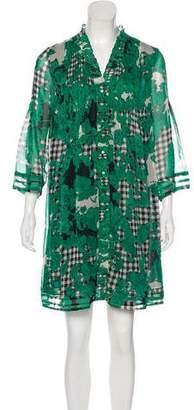 Diane von Furstenberg V-Neck Long Sleeve Dress