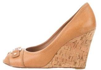 Tory Burch Peep-Toe Leather Wedges