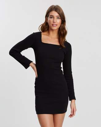 Missguided Long Sleeve Square Neck Dress