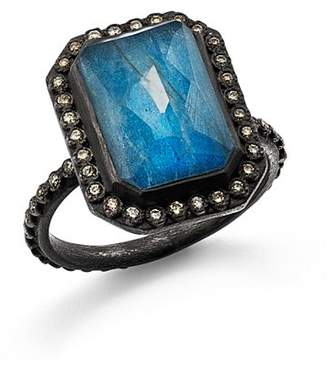 Armenta Blackened Sterling Silver Old World Blue Quartz, Labradorite, and White Quartz Triplet and Champagne Diamond Ring