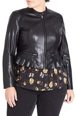City Chic Frill Rider Faux Leather Jacket