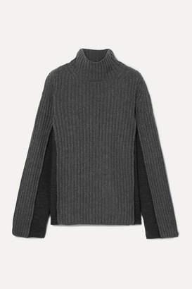 Maison Margiela Paneled Ribbed Wool-blend Turtleneck Sweater - Charcoal