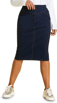 Marina Rinaldi Plus Size Caorle Denim Jersey Skirt