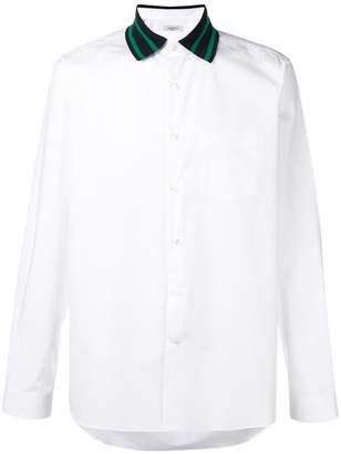 Valentino striped collar shirt