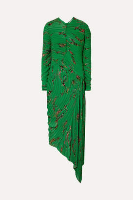 Preen by Thornton Bregazzi Teresa Asymmetric Floral-print Plissé-georgette Midi Dress - Green