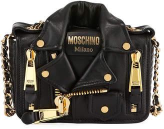 Moschino Leather Moto Jacket Shoulder Bag