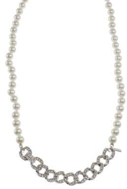 Kenneth Jay Lane Chainlink and Faux Pearl Necklace