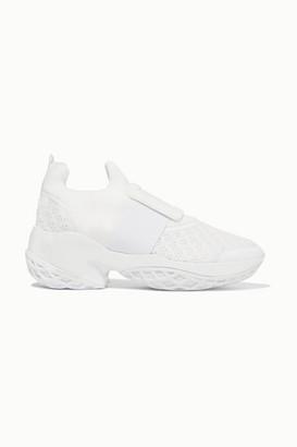 Roger Vivier Viv Run Neoprene, Mesh And Leather Sneakers - White