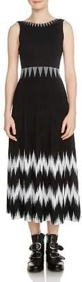 Maje Ruche Geo-Pattern Knit Midi Dress