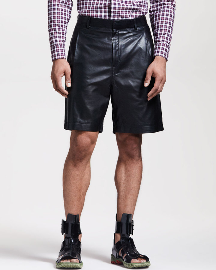 Givenchy Leather-Front Bermuda Shorts