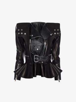 Alexander Mcqueen Cropped Leather Peplum Biker Jacket