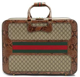 Gucci Gg Supreme Python Trimmed Canvas Suitcase - Womens - Multi