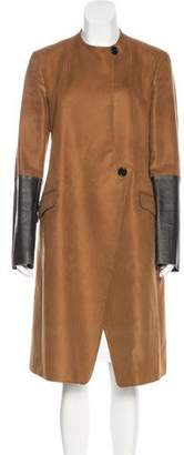Derek Lam Leather-Accented Long Coat