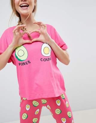 Asos Design Avocado and Egg Power Couple Tee & Legging Pyjama Set
