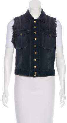 Current/Elliott Crochet-Paneled Denim Vest