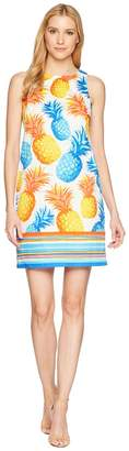 London Times Cotton Sateen Pineapple Print Shift Dress Women's Dress