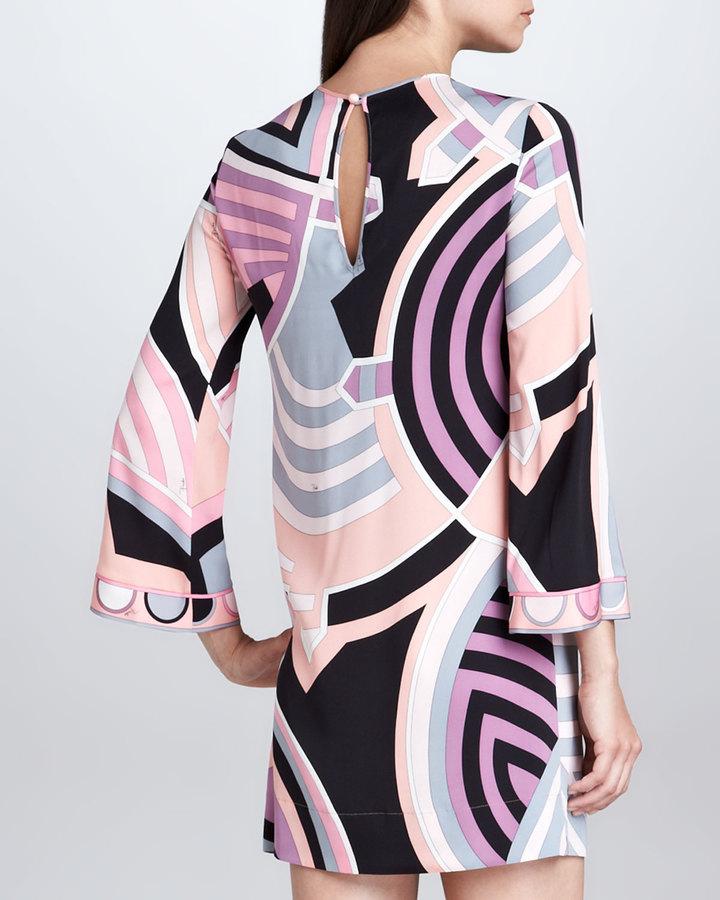 Emilio Pucci Bracelet-Sleeve Print Dress, Pink/Black/Ivory