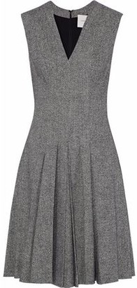 Carolina Herrera Pleated Wool-Blend Tweed Dress