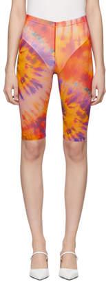 MSGM Orange Tie-Dye Tulle Shorts