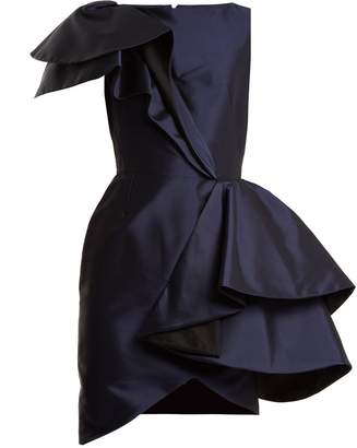 Lanvin Asymmetric-ruffled silk-twill mini dress