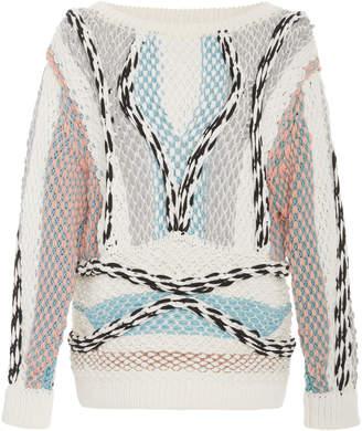 Peter Pilotto Boatneck Multicolored Cotton-Blend Sweater