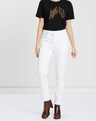 NA-KD Straight Raw Hem Jeans