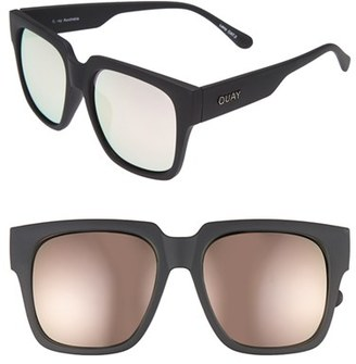 Junior Women's Quay Australia 'On The Prowl' 55Mm Oversize Square Sunglasses - Black/ Pink Mirror $50 thestylecure.com