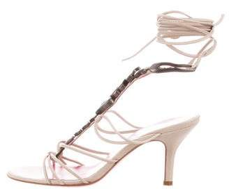 Ungaro Embellished Lace-Up Sandals w/ Tags